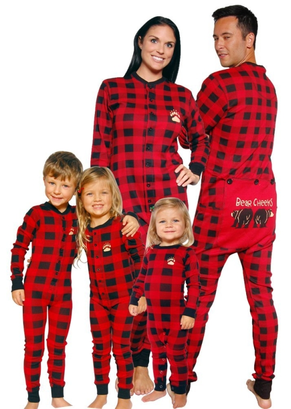 Bear Cheeks Lazy One Adult Red  Black Plaid Flapjack Family Matching Pajamas