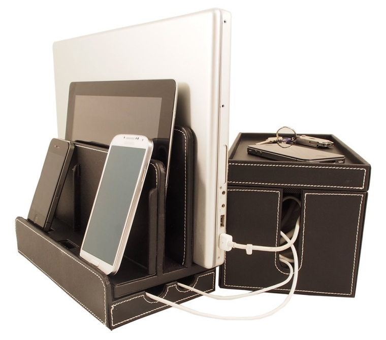 Black Leatherette Multi-Charger and Cord Cubby Combo