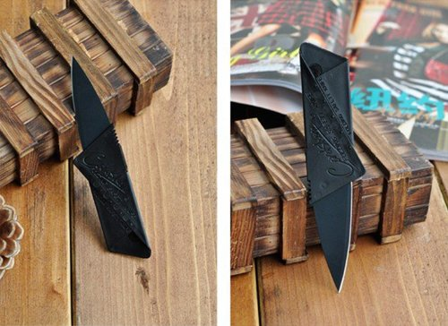 Credit Card Wallet Portable Safety Folding Blade Knife Style Camping Outdoor