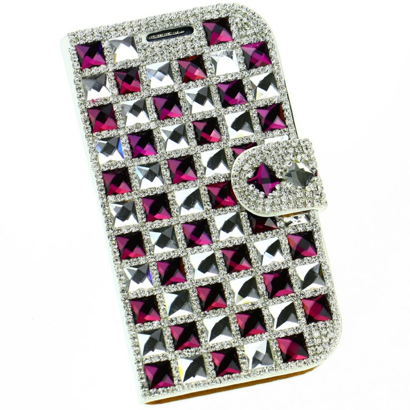 Diamonds PU Leather Wallet Case Cover for Iphone 5 5S