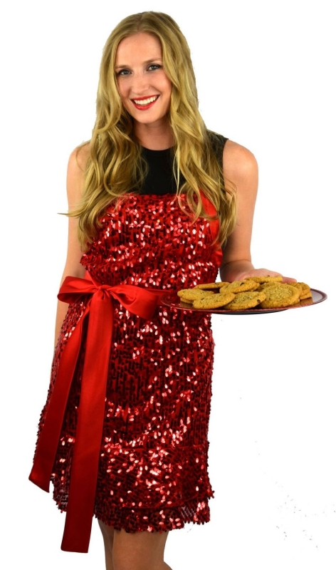 Glamour Girl Red Sequin Apron