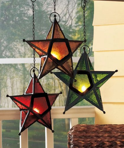 Hanging Glass Star Candle Holder