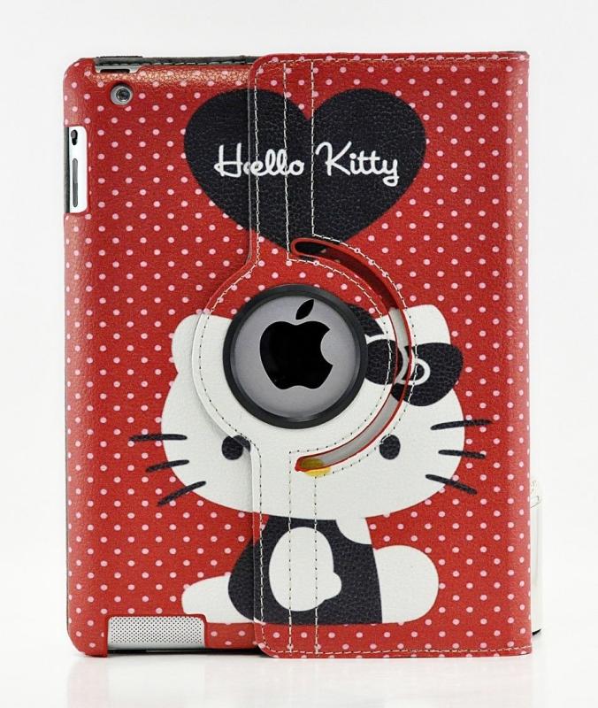 Hello Kitty Design 360 Degree Rotating PU Leather Hard Case for Apple iPad 4 3 2