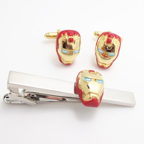 Iron Men Cufflinks Tie Bar Gift Set