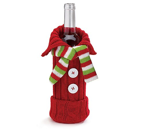 Knit Sweater Scarf Wine Bottle Bag Christmas