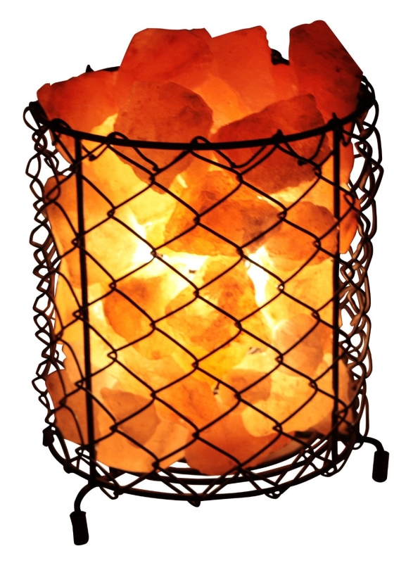 Natural Himalayan Salt Wire Mesh Basket Lamp