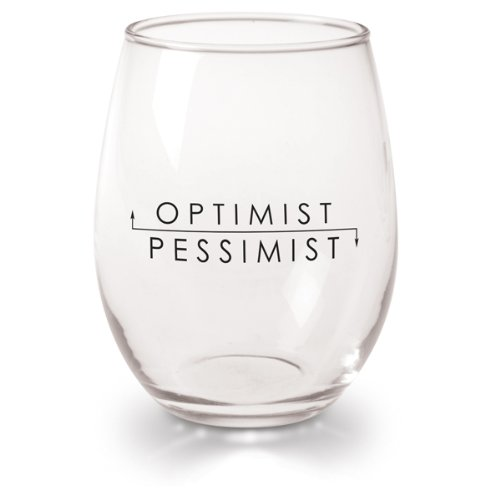 Optimist Pessimist Set of 4 Wine Glasses