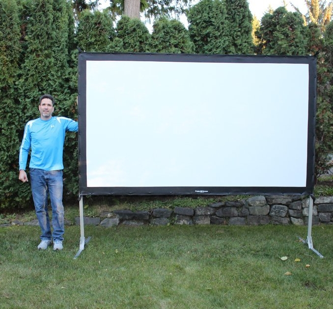 Projectoscreen120hd portable indoor or outdoor movie theater projection screen
