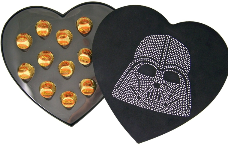 Rhinestone Jeweled Darth Vader Head Heart Shape Felt Candy