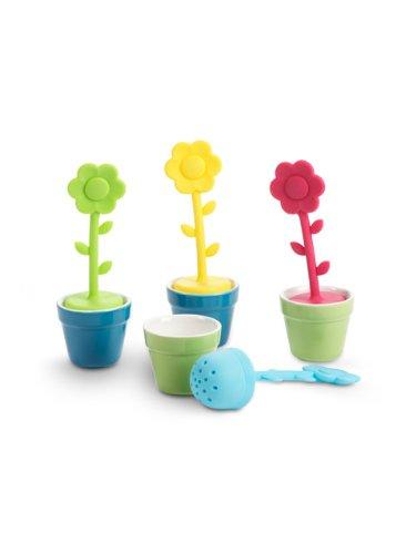 Set 4 Silicone Porcelain Flower In Pot Loose Leaf Tea Strainer Infuser Ball