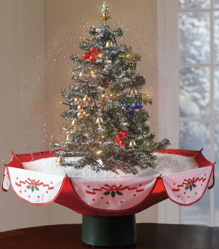 Snowing Holiday Tabletop Christmas Tree With Music