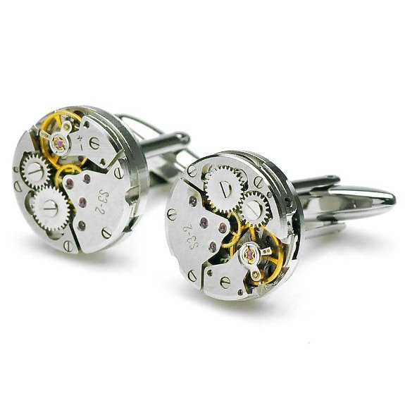 Steampunk Watch Mechanism Cufflinks for Men