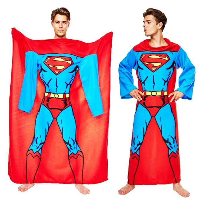 Superman Muscle Print Adult Lounger Fleece Sleeve Blanket