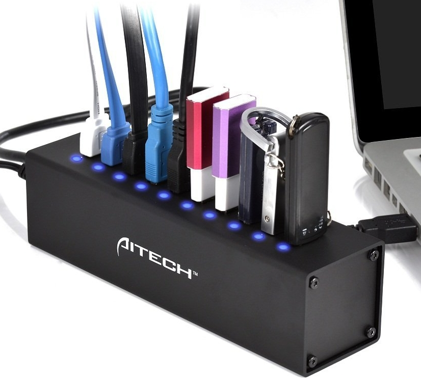 USB 3.0 10 Ports HUB with 12V4A Power Adapter