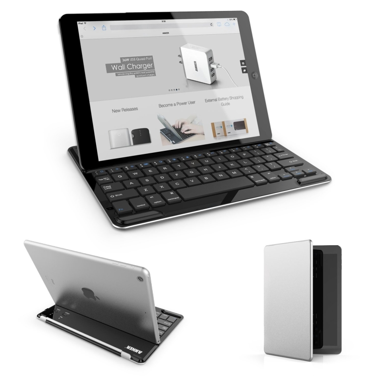 Ultrathin iPad Bluetooth Wireless Aluminum Keyboard Cover with Stand for iPad Air  iPad 5