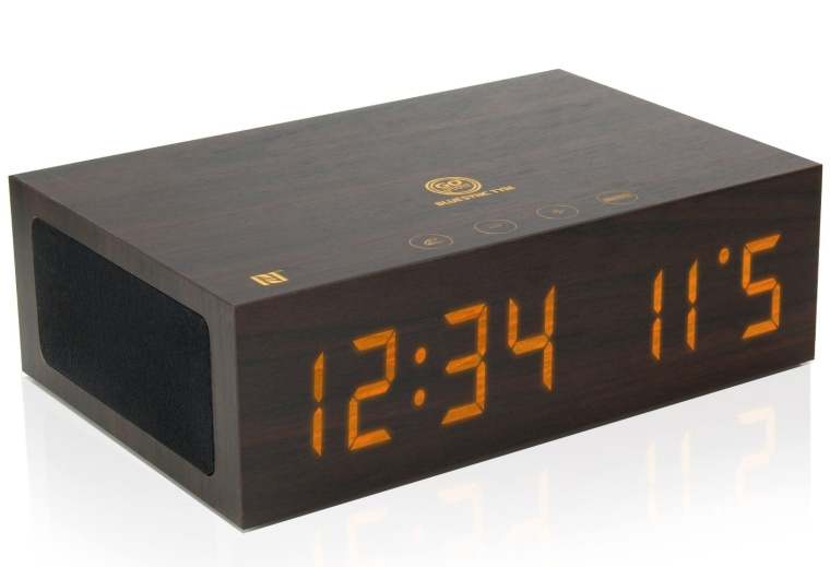 bluetooth wireless stereo speaker wooden alarm clock. Black Bedroom Furniture Sets. Home Design Ideas