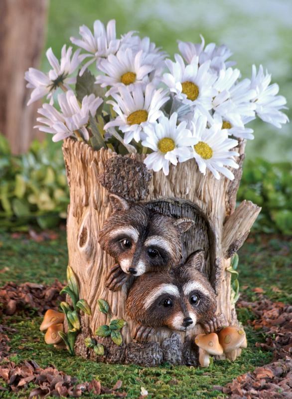 Peeking Raccoons Decorative Garden Planter