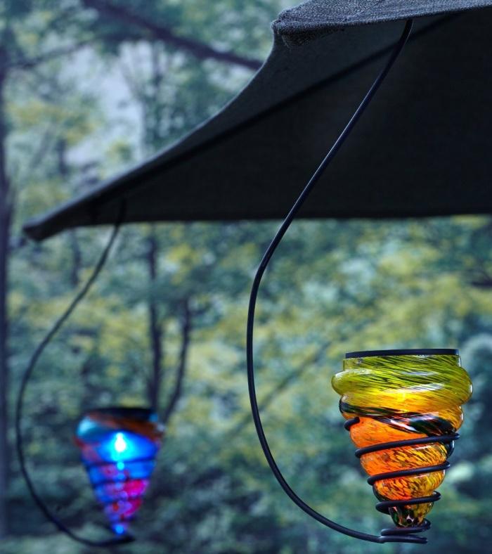 Solar-Powered Hanging Art-Glass LED Light