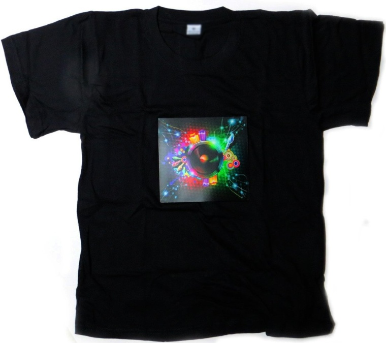 DJ LED Flashing Sound Activated Rainbow Speaker Rave Light Up Shirt