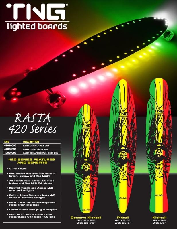LED Lighted Rasta Longboard Pintail - Illuminated Pintail Longboard