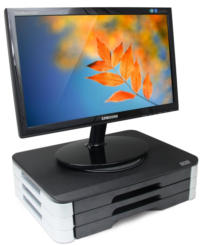 Monitor Printer Swivel Stand with Wood Top and Adjustable Height