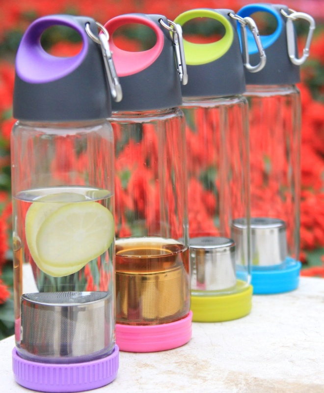 Portable Glass Water Bottle with Sleeve Tea Fruit Infuser