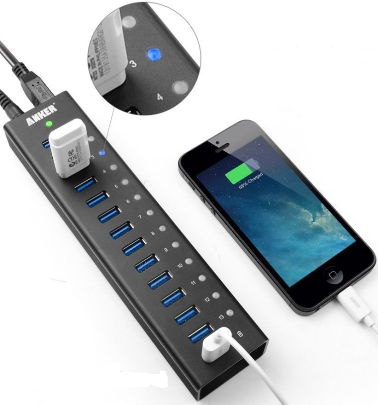 USB 3.0 Aluminum 13-Port Hub