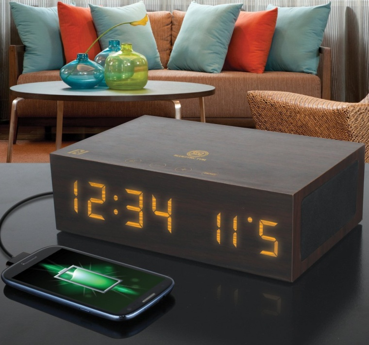 Bluetooth Wireless Stereo Speaker Wooden Alarm Clock