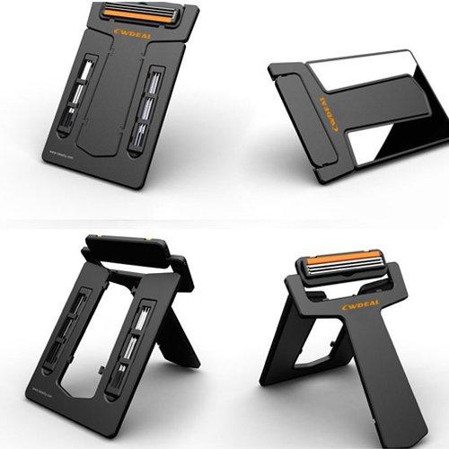 Credit Card Style Portable Wallet Shaver Razor Blades Mirror