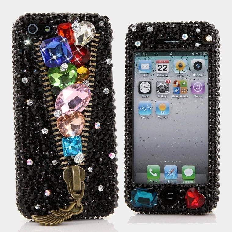 D Luxury Bling iphone 5C Case Cover Faceplate Swarovski Crystals Diamond Sparkle