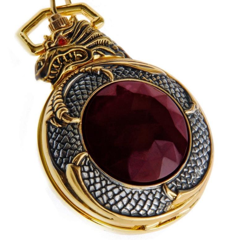 Dragon Gold Tone Case Red Garnet Inset Pocket Watch
