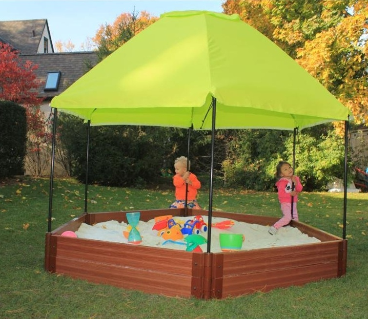 Frame It All Hexagonal Sandbox with Sun Canopy