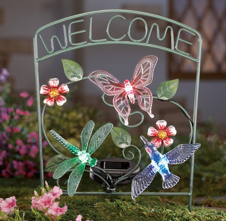 Hummingbird Welcome Solar Lighted Garden Stake