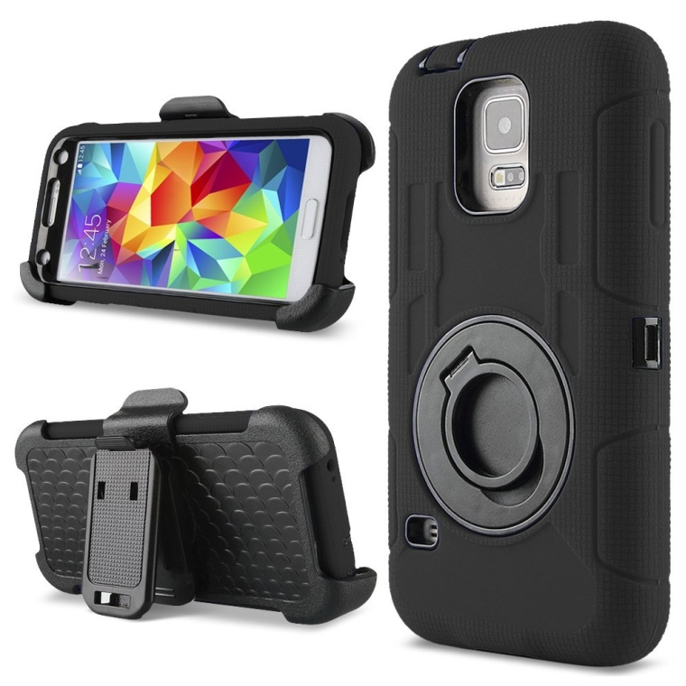 Hybrid Rubber Hard Case for Samsung Galaxy S5 with Belt Clip Holster