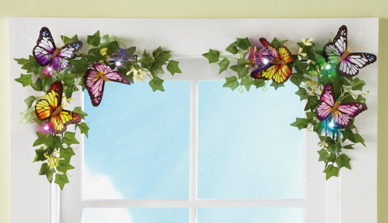 LED Lighted Floral Butterfly Corner Decorations
