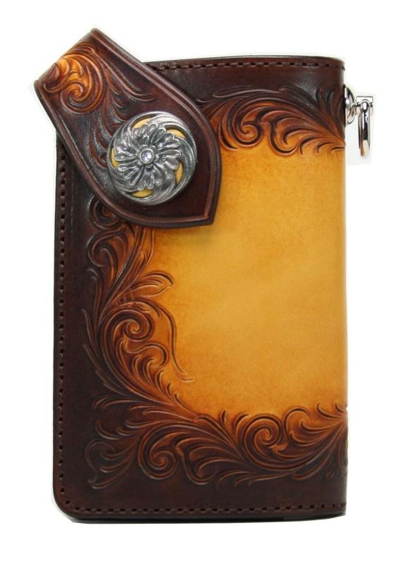 Leather Craft Long Billfold Freecut Dx Color Yellow Handmade
