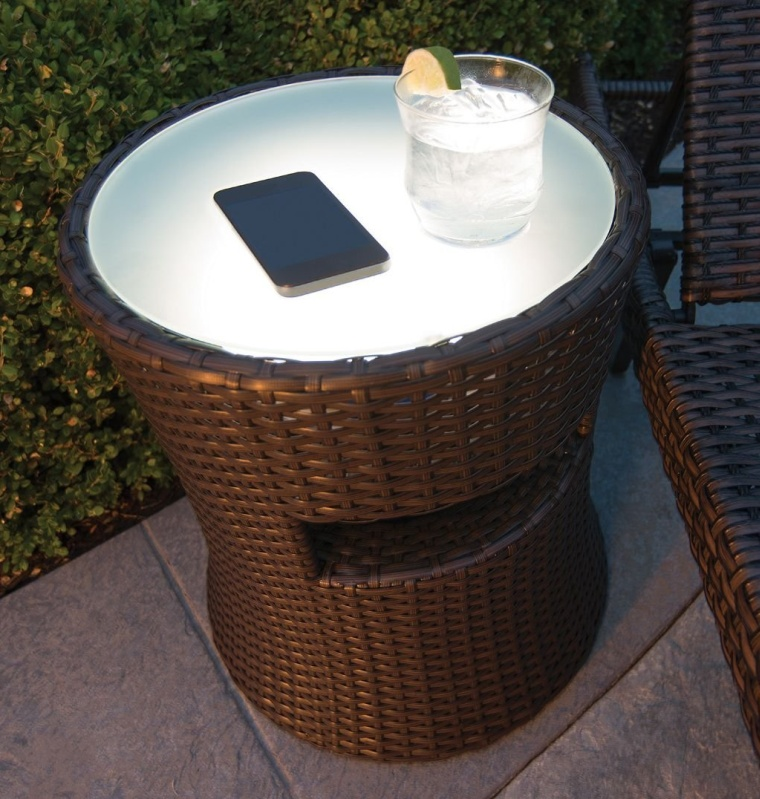Outdoor Patio Side Table With Outdoor Speaker Built In And LED Light