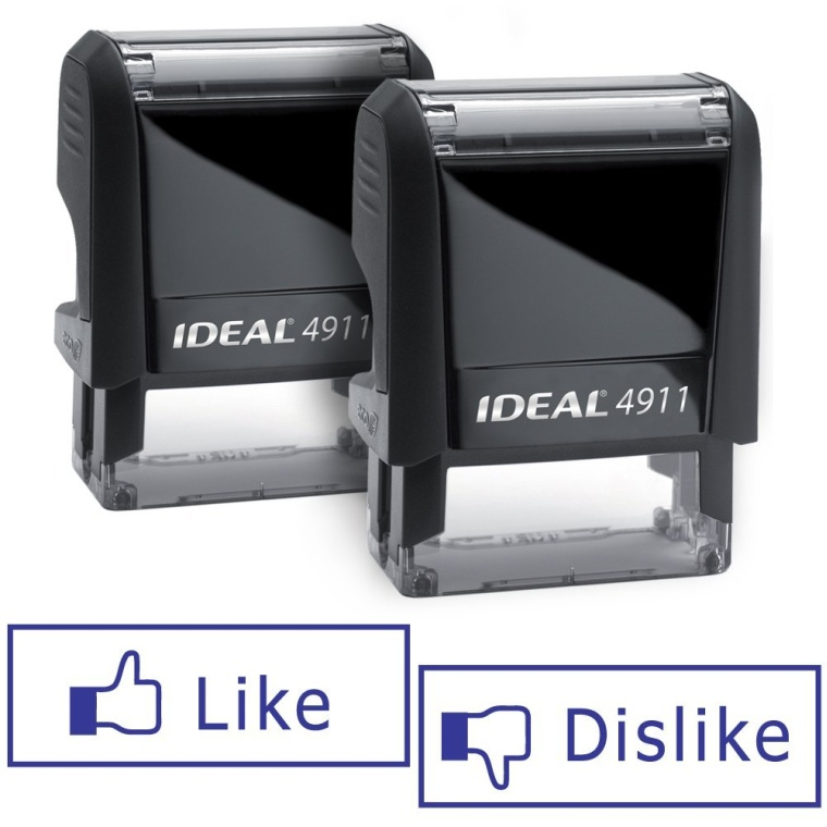 Pair of LIKEDISLIKE Facebook Ideal 50 Self-inking Rubber Stamps