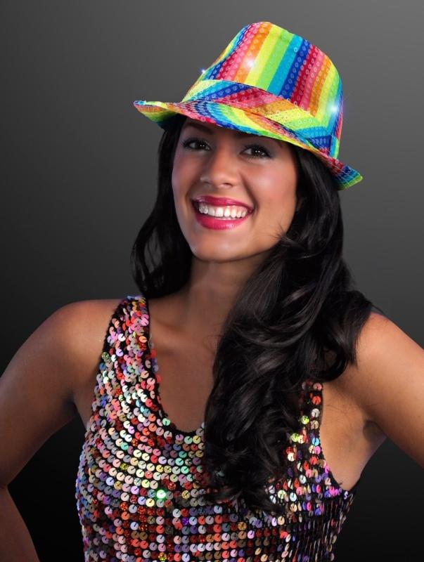 Sequin LED Fedora Hats