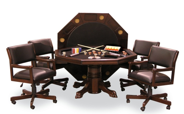 Signature Combination Game Table  Dining table Set with four Game Chairs