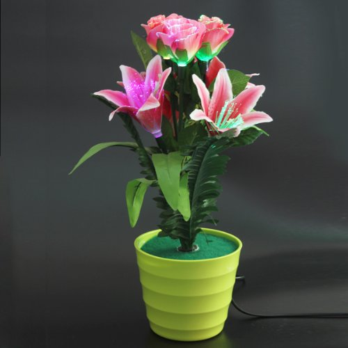 Simulation Artificial Lily  Rose Flower Optical Fibre Flower for Decorations