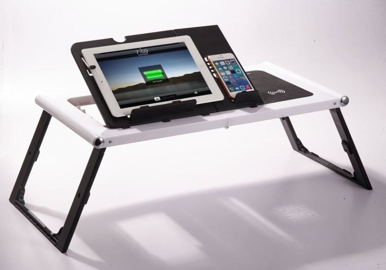Smart Table For iPads and Tablets with Built in Charger-Black