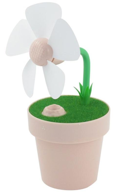Summer Household Flower Pot Air Purification USB Humidifier Fan Pink