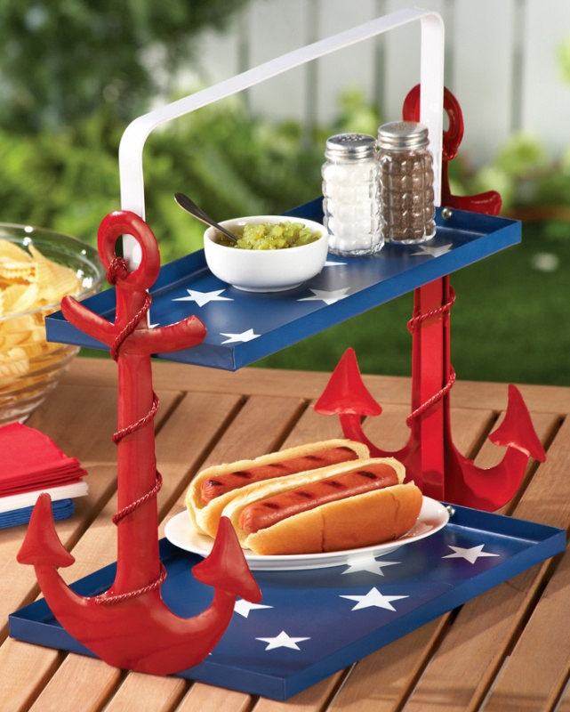 Tiered Nautical Anchor Caddy Serving Trays