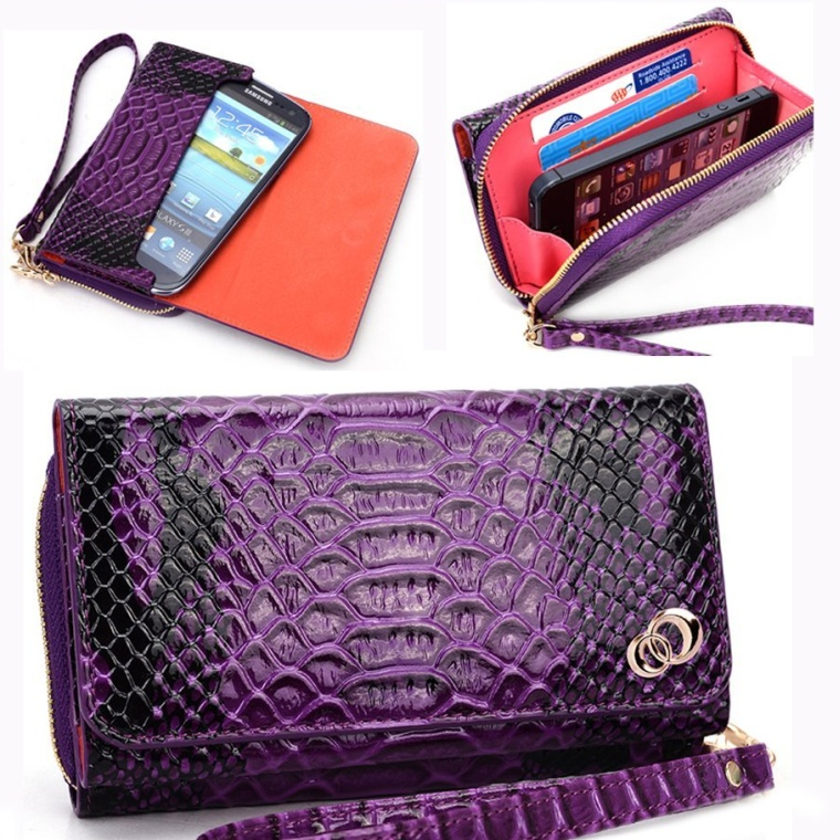 Women's Wallet with Wrist Strap Phone Bag Fits Samsung Galaxy S5 Case