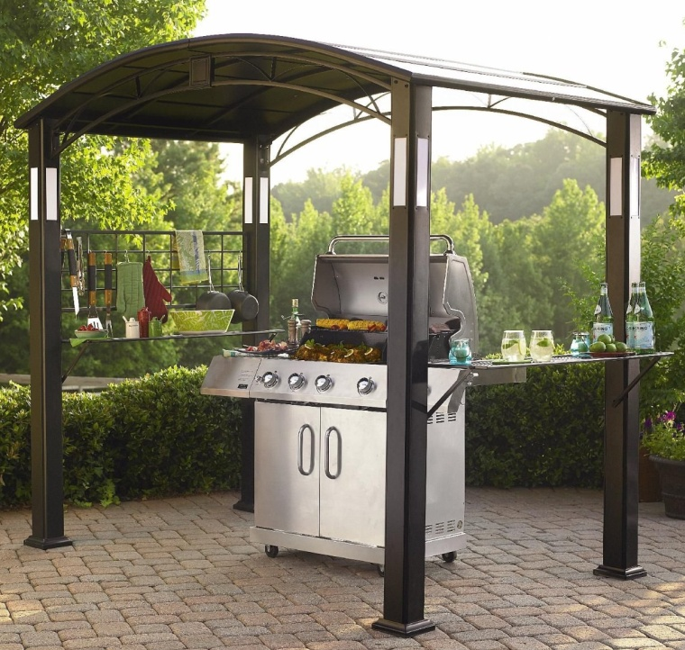Grill Gazebo With Accent Lighting For Deck And Patio