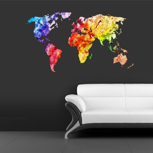wall decal mural sticker decor art world map watercolor water paintings. Black Bedroom Furniture Sets. Home Design Ideas
