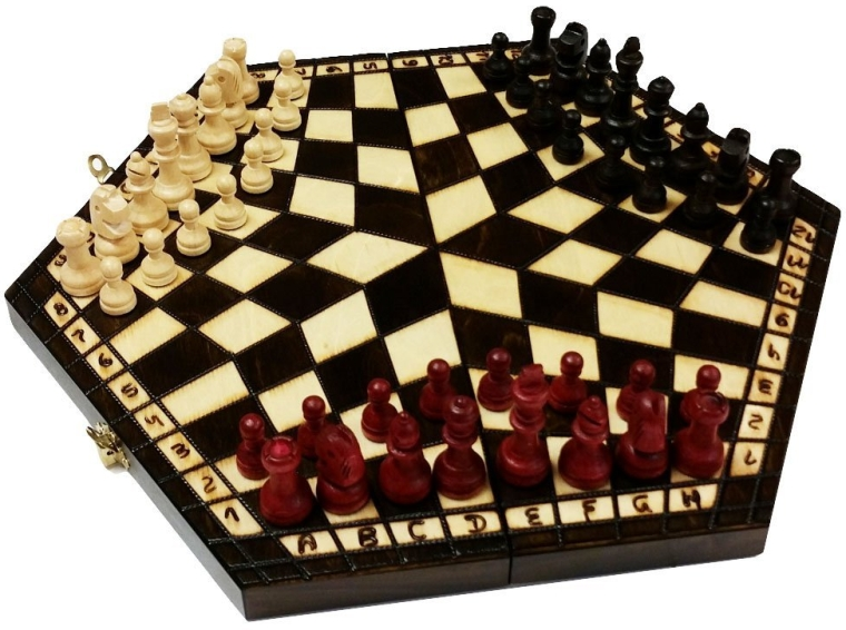 3 Man Wood Chess Set for Three Players