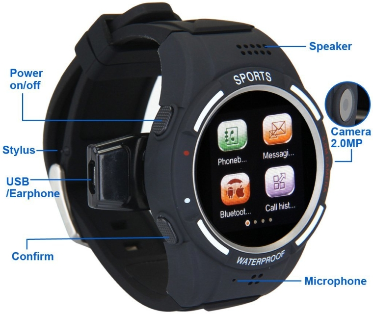 Anti-Lost Daul Bluetooth Sports Pedometer Phone Watch Smartwatch