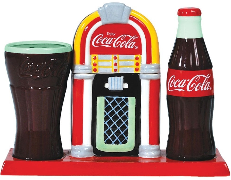 Coca-Cola Juke Box Salt And Pepper Shaker Set With Coke Toothpick Holder